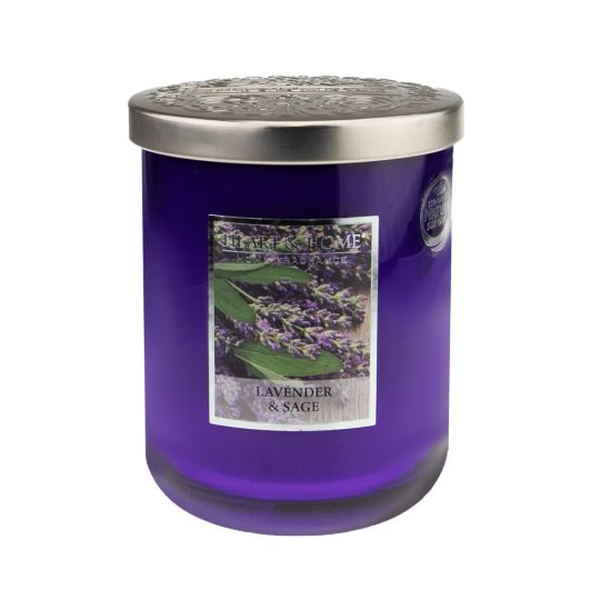 Heart & Home geurkaars in pot (groot) - Lavender & Sage