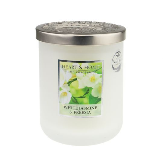 Heart & Home geurkaars in pot (groot) - White Jasmine & Freesia