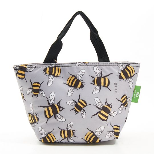 Eco Chic - Cool Lunch Bag - C29GY - Grey Bees