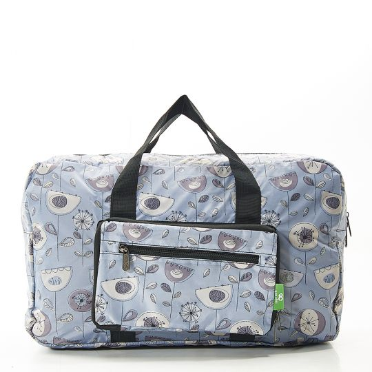 Eco Chic - Foldable Holdall (weekendtas) - D17GY - Grey - 1950's Flower