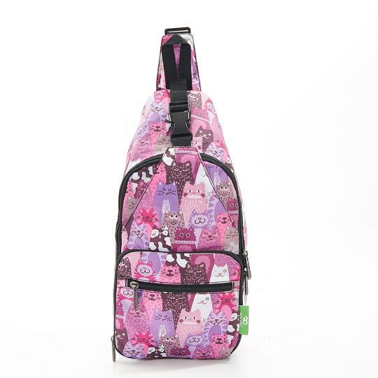 Eco Chic - Cross Body Bag - I09PP - Purple cats