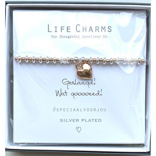 Life Charms - Armband -  Geslaagd! Wat gooooeed!  verguld hartje