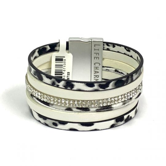 480303 - Life Charms - BT03 - 6 Row Cow Print Wrap bracelet