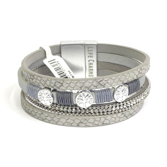 480304 - Life Charms - BT04 - 4 Row Platinum Wrap bracelet