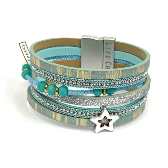 480308 - Life Charms - BT08 - 6 Row Aqua Star Wrap bracelet