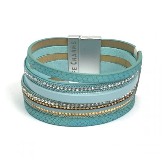 480313 - Life Charms - BT13 - 6 Row Aqua Wrap bracelet