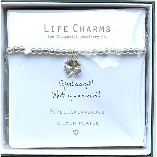 Life Charms - Armband -  Geslaagd! Wat gooooeed!  Klavertje vier