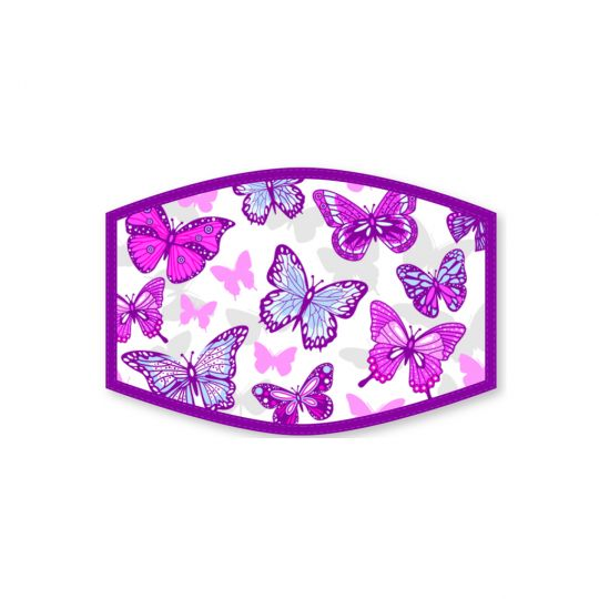 Mondkapje - Kind - Butterflies Purple