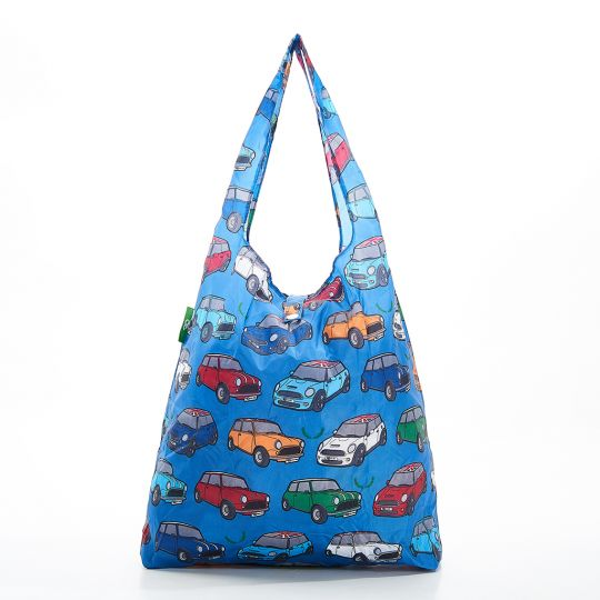 Eco Chic - Foldaway Shopper - A01BU - Blue - Car Prints