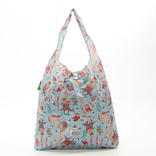 Eco Chic - Foldaway Shopper - A07BU - Blue - Owl