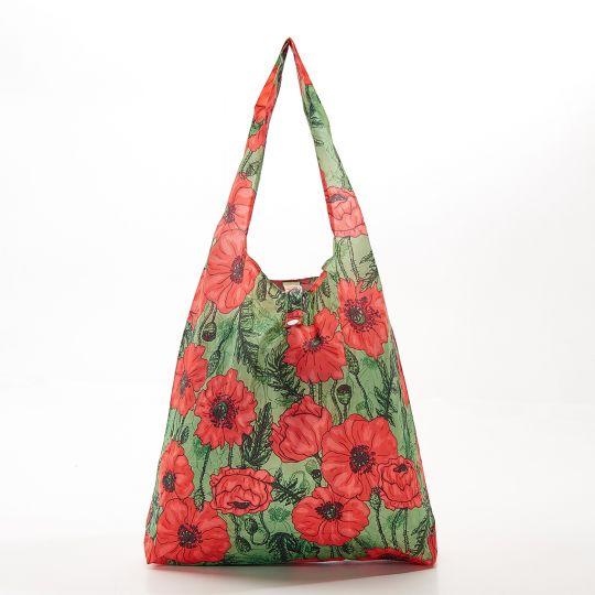 Eco Chic - Foldaway Shopper - A09GN - Green - Poppies