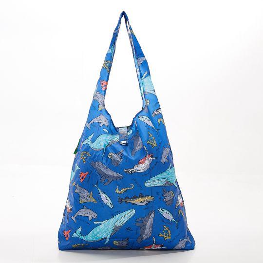 Eco Chic - Foldaway Shopper - A12BU - Blue - Sea Creatures
