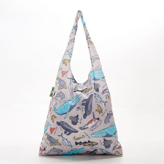 Eco Chic - Foldaway Shopper - A12GY - Grey - Sea Creatures