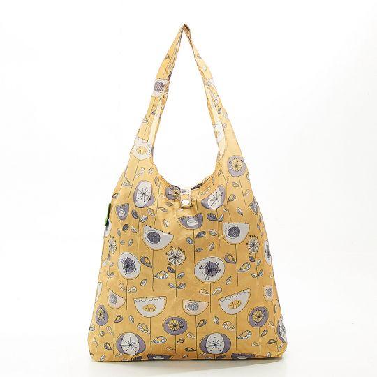 Eco Chic - Foldaway Shopper - A18MD - Mustard - 1950's Flower