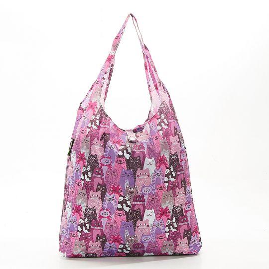 Eco Chic - Foldaway Shopper - A19PP - Purple - Cats