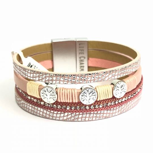 480306 - Life Charms - BT06 - 4 Row Pink Tree of Life Wrap bracelet