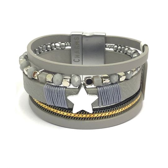 480307 - Life Charms - BT07 - 5 Row Grey Star Wrap bracelet