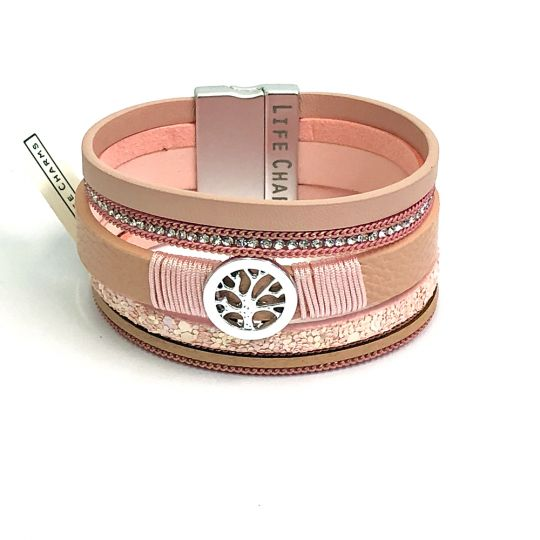 480309 - Life Charms - BT09 - 6 Row Pink Tree of Life Wrap bracelet
