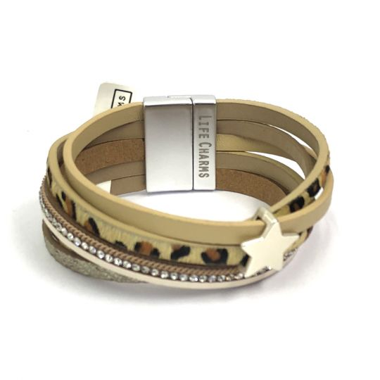 480312 - Life Charms - BT12 - 5 Row Animal Print Star Wrap bracelet