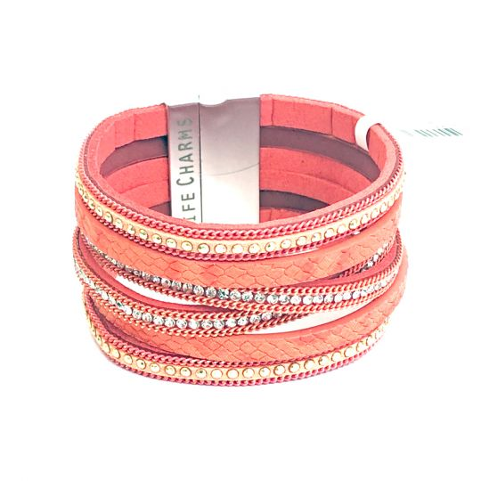480317 - Life Charms - BT17 - 6 Row Coral Wrap bracelet