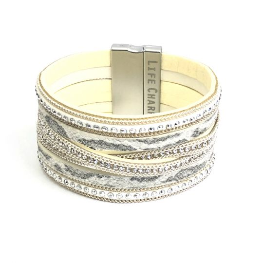 480318 - Life Charms - BT18 - 6 Row White Snakeskin Wrap bracelet