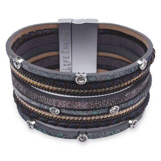 480321 - Life Charms - BT21 - 8 Row Green Glitter Wrap bracelet
