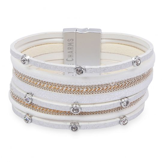 480322 - Life Charms - BT22 - 8 Row Cream, Silver and Gold Wrap bracelet