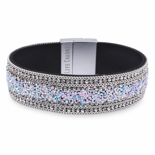 480325 - Life Charms - BT25 - Silver Diamant with chain and glitter Wrap Bracelet