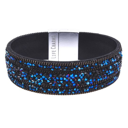 480326 - Life Charms - BT26- Black Midnight Blue Beaded Wrap Bracelet