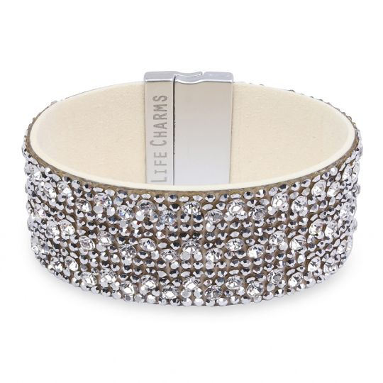 480327 - Life Charms - BT27- Thick Cream with Silver Diamant Wrap Bracelet