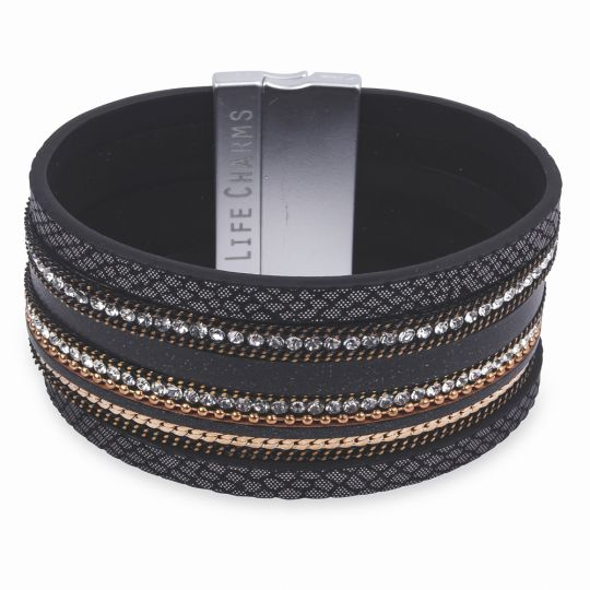 480329 - Life Charms - BT29 - 6 Row Black Gold - Silver with Zirkonia Wrap bracelet