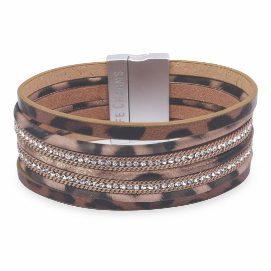 480330 - Life Charms - BT30 - 7 Row Animal Print With Zirkonia Wrap bracelet