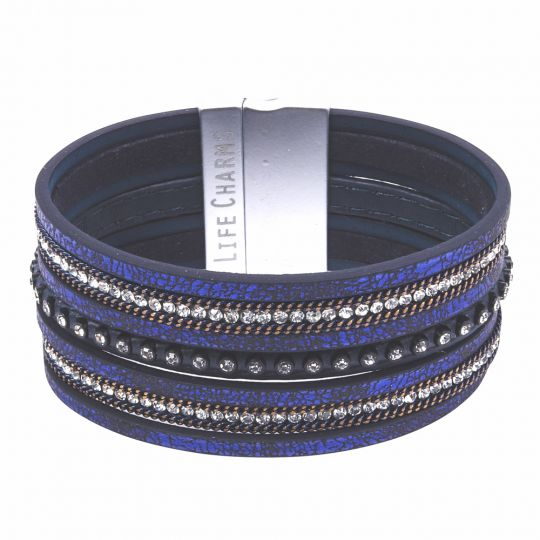 480331 - Life Charms - BT31 - 7 Row Royal Blue With Zirkonia Wrap bracelet