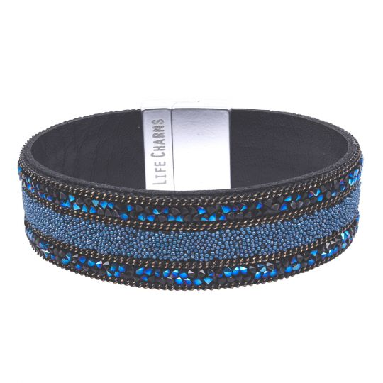 480332 - Life Charms - BT32 - Royal Blue With Beads and Chain Wrap bracelet