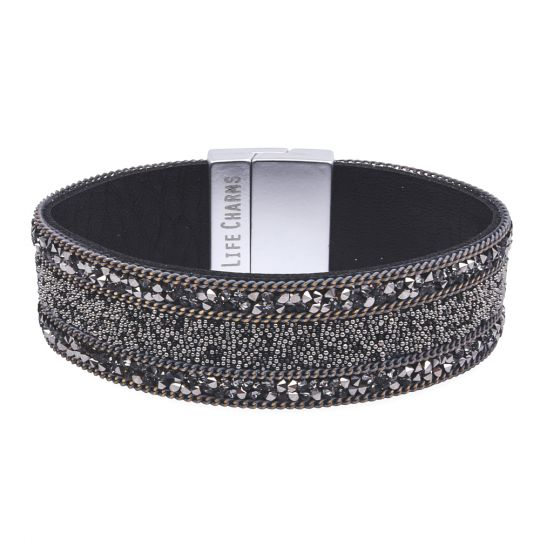 480333 - Life Charms - BT33 - Gunmetal Colour With Beads and Chain Wrap bracelet