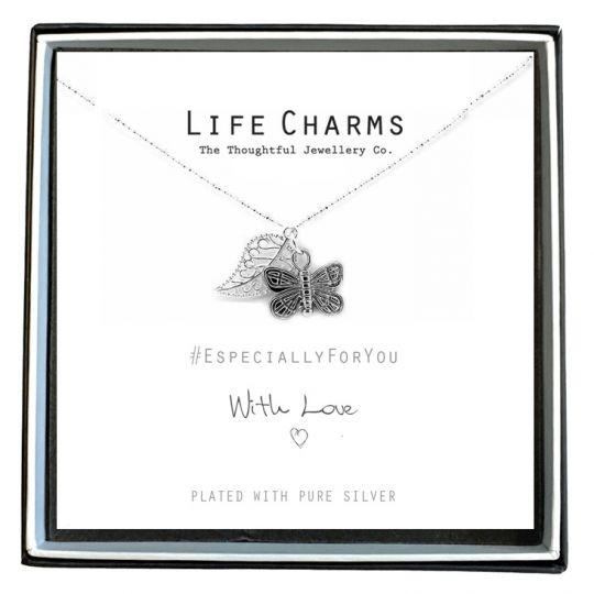 Life Charms - EFY007N - Verzilverd collier - Butterfly (vlinder)