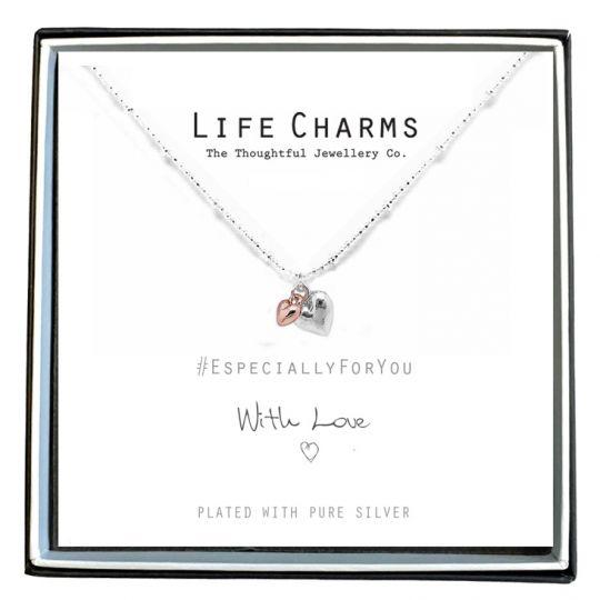 Life Charms - EFY008N - Verzilverd collier - Hartjes