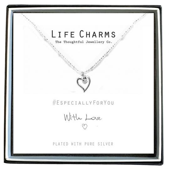 Life Charms - EFY009N - Verzilverd collier - Heart Crystal