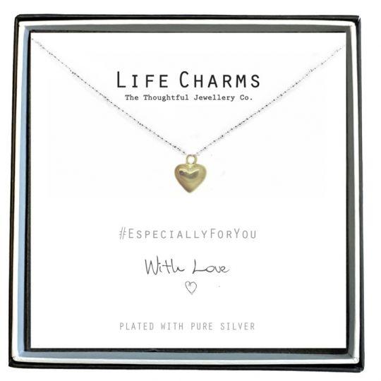 Life Charms - EFY014N - Verzilverd collier - Gold Heart