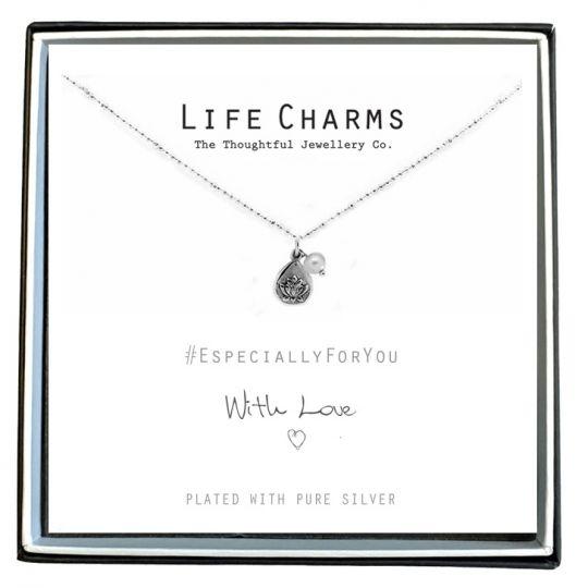 Life Charms - EFY015N - Verzilverd collier - Lotus