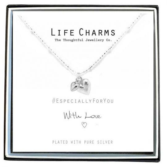 Life Charms - EFY021N - Verzilverd collier - Silver puffed Heart