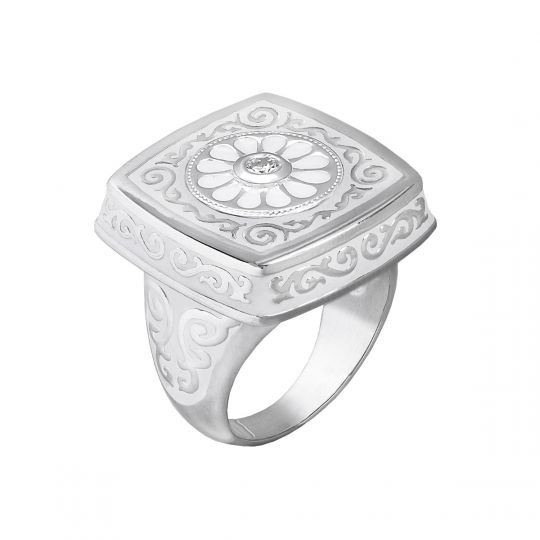 KR1 - Ring Square Scrolled Enamel - Limited Edition**-18,00
