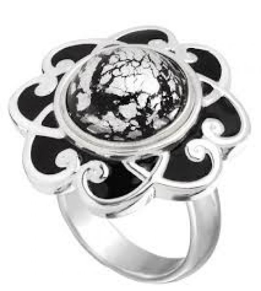 KR9B - Ring Black Enamel Flower Scroll - 19,00