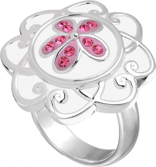 KR9W - Ring White Enamel Flower - 17,50