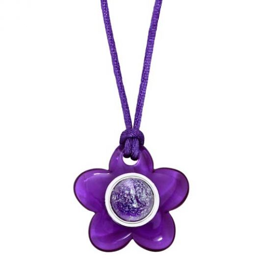 KRP1 C121 - Pendant Purple Flower - Hand Crafted Enamel