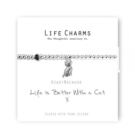 480266 Life Charms - LC066BW - Just because - Life is Better with a Cat