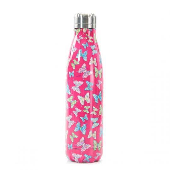 Eco Chic - The Bottle Thermosfles - T04 - Butterflies - fuchsia