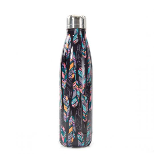 Eco Chic - The Bottle Thermosfles - T07 - Black Feather