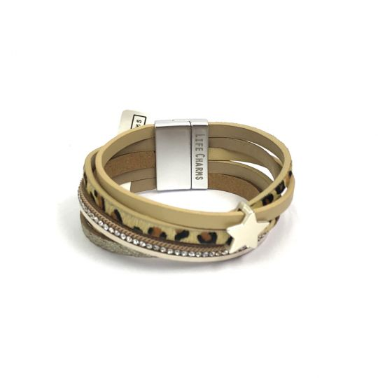 480301 - Life Charms - BT01 - 5 Row Leopard Print Wrap Bracelet