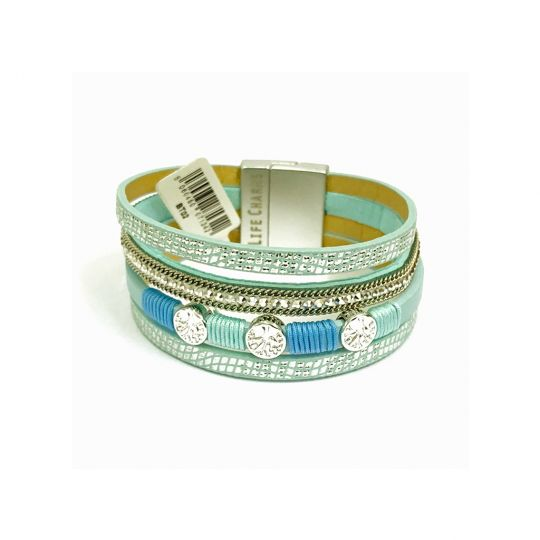 480302 - Life Charms - BT02 - 4 Row Turquoise Crystal Wrap with Tree of Life
